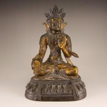 Chinese Ming Dynasty Gilt Gold Red Copper Kwan-yin Statue