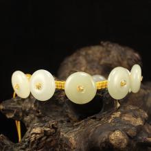 Chinese Natural Hetian Jade Beads Bracelet