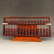 Hand Carved Chinese Natural Hua Li Wood Abacus