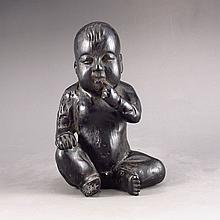 Vintage Hand-carved Chinese Natural SandalWood Statue - Naughty Child
