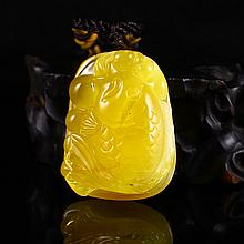 Superb Natural Amber Pendant Carved Goldfish Come With Certificate