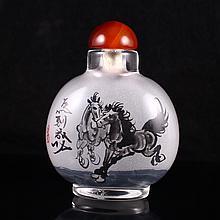 Beautiful Chinese Beijing / Peking Glass Snuff Bottle
