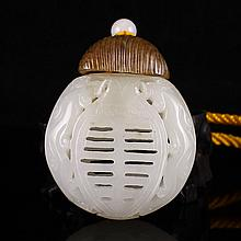 Hollow Out Carved Chinese Natural Hetian Jade Pendant - Dragon
