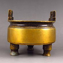 Chinese Brass Carved 3 Legs Incense Burner w Xuan De Mark