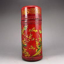 Chinese Fortune Sticks Lacquer Hard Wood Box w Dragon & Phoenix