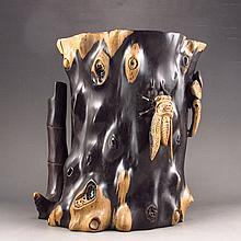 Hand-carved Chinese Natural Ebony Wood Brush Pot w Cicada & Pine Tree
