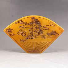 Chinese Hand Carved Fan-shaped Shoushan Stone Statue w Mouse