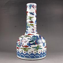 Vintage Chinese Dou Color Porcelain Vase Fly Dragon w Kang Xi Mark