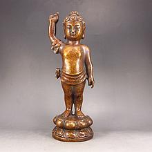 Chinese Brass Carved Buddha Statue