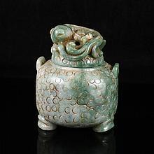 Hand Carved Chinese Natural Jadeite / Jade Incense Burner w Pi Xiu Dragon