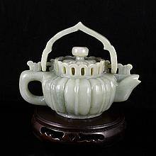 Hand-carved Chinese Natural Hetian Jade Teapot