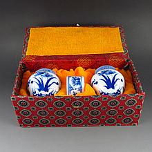 A Set Three Piece Chinese Hand Painted Blue and White Porcelain Bird Food Jar