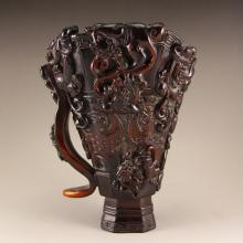 Chinese Qing Dynasty Ox Horn Nine Dragons Sacrificed Cup Statue