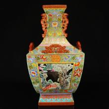 Openwork Chinese Qing Dynasty Gilt Gold Famille Rose Double Layer Porcelain Square Vase w Qian Long Mark
