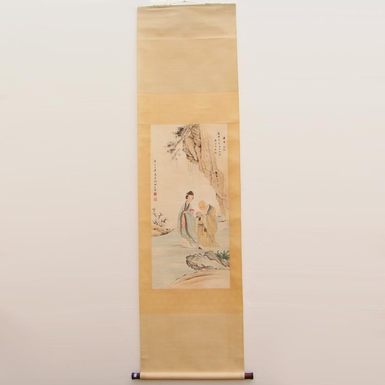 Chinese Watercolour on Xuan Paper Figure Painting Zheng Mukang 1901-1982
