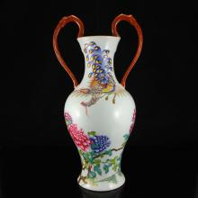 Chinese Qing Dynasty Famille Rose Porcelain Double Ears Vase w Qianlong Mark