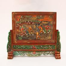 Chinese Qing Dynasty Zitan Wood Lacquerware Screen Statue
