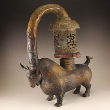 Chinese Han Dynasty Bronze Ox Lamp Statue