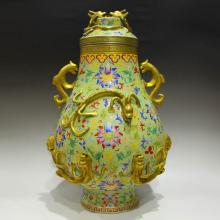 Chinese Qing Dynasty Gilt Gold Famille Rose High Relief Chi Dragons Porcelain Big Pot w Qianlong Mark