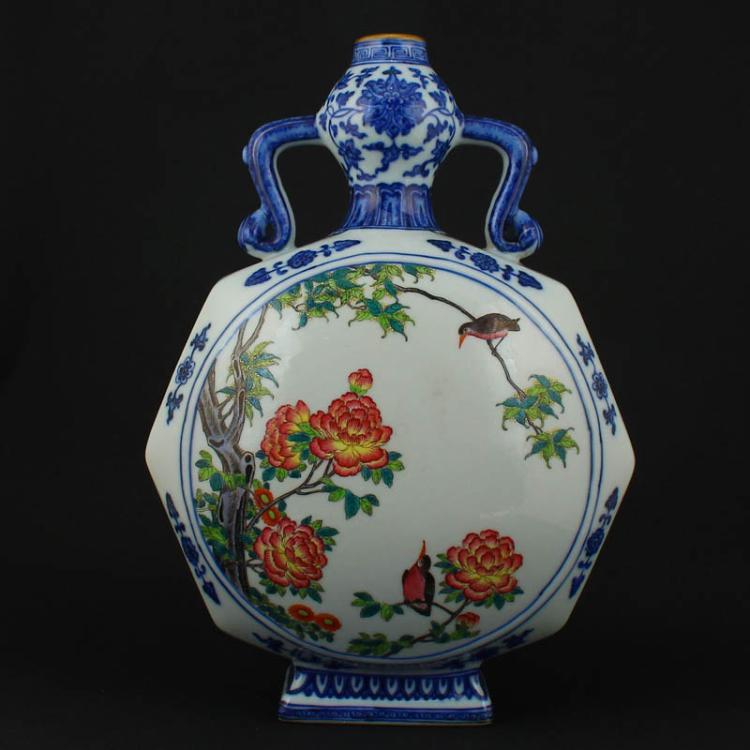 Chinese Famille Rose + Blue And White Porcelain Vase