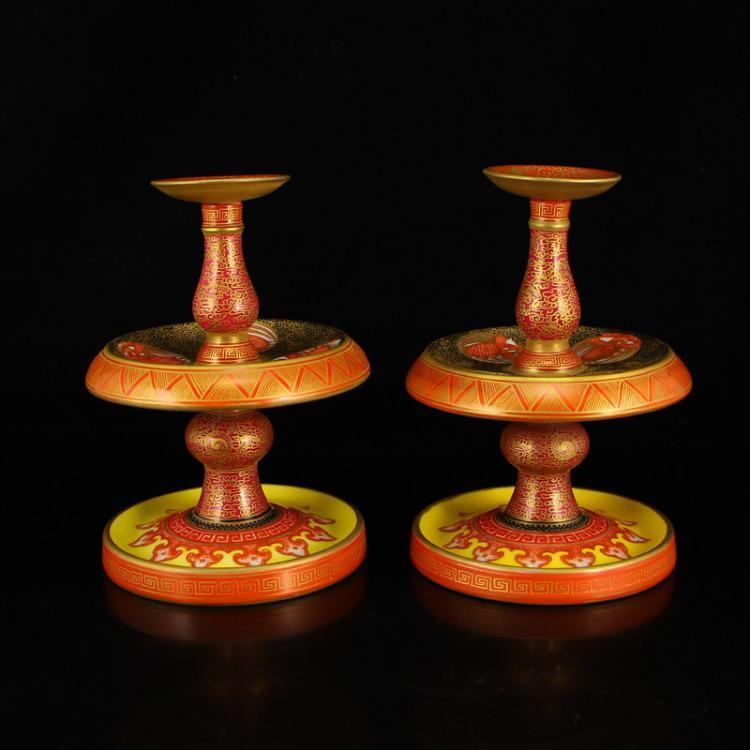 A Pair Gilt Gold Iron Red Glaze Porcelain Candlesticks