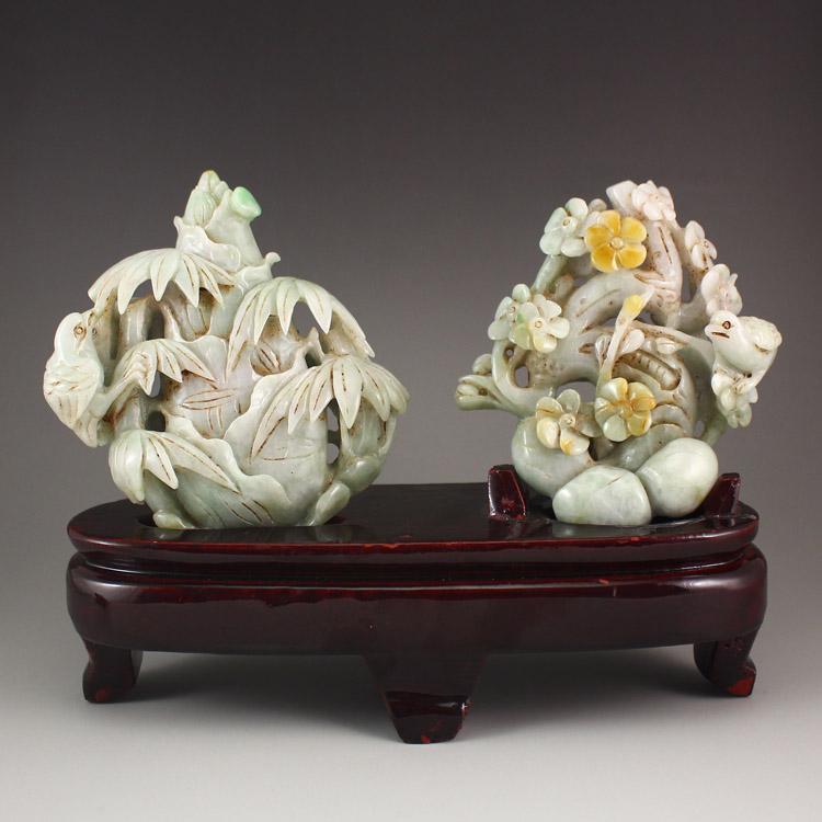 Vintage Jadeite Statue - Magpies Bamboo & Plum Flower
