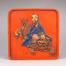 Chinese Cinnabar Red Ink Block for Ink Stone - Old Man & Dragon Turtle w Mark