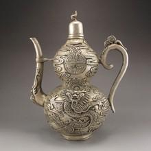 Handmade Chinese White Copper Teapot w Dragon