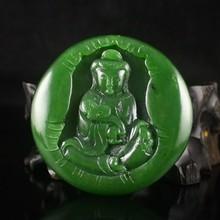 Hand-carved Chinese Natural Green Hetian Jade Pendant - Ruyi Kwan-yin