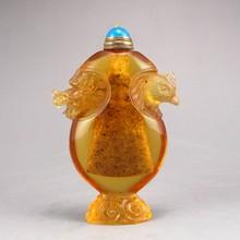 Chinese Beijing / Peking Glass Snuff Bottle - Dragon Head & Phoenix Head