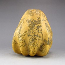 Hand Carved Chinese Gourd Statue w Playing Game Children
