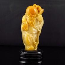 Superb Hand-carved Chinese Shoushan Stone Statue - Longevity Taoism Deity