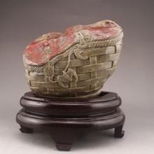 Superb Chinese Chicken Bloodstone Statue w Carved Fortune Bat