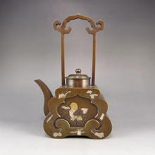 Chinese Bronze Teapot w Fortune Kid Fish & Tong Ren Tang Mark