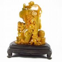 Huge Superb Hand-carved Chinese Shoushan Stone Statue - Fortune Beast & Fireball