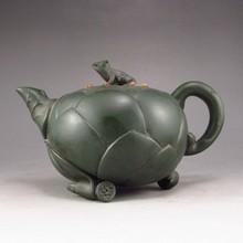 Chinese Zisha / Purple Clay Teapot w Frog & Lotus Seed & Artist Signed