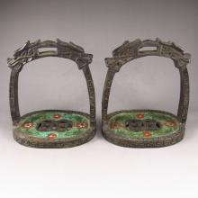 A Pair Vintage Chinese Bronze Cloisonne Dragon Head Saddle Iron