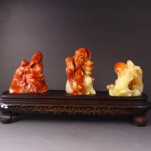 A Set Hand Carved Chinese Natural Shoushan Stone Statue - Fukurokuju