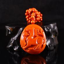 Beautiful Color Natural Nan Hong Agate Necklace & Horse Pendant