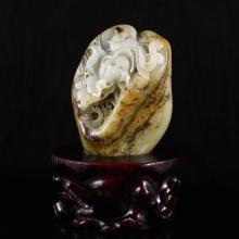 Hand Carved Chinese Natural Hetian Jade Statue - Phoenix & Peony