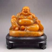 Superb Hand Carved Chinese Shoushan Stone Statue - Laughing Buddha