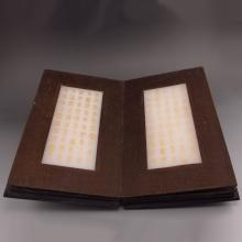 Handmade Chinese Wood Inlay Natural White Jade Buddhist Sutras Book