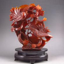 Beautiful Color Hand Carved Chinese Natural Agate Statue - Magpies & Luck Towel Gourds