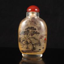 Beautiful Hand-painted Chinese Beijing Glass Inside Painting Snuff Bottle