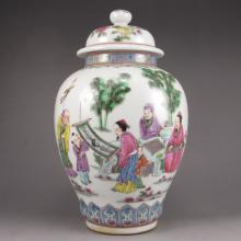 Superb Hand-painted Chinese Famille Rose Porcelain Pot w Mark