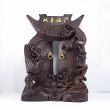 Hand Carved Chinese Sandalwood Statue - Magpies & Door