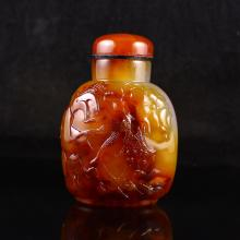Superb Hand Carved Chinese Natural Agate Snuff Bottle Goldfish & Lotus