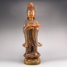 Vintage Superb Hand-carved Chinese Natural Shoushan Stone Statue - Kwan-yin
