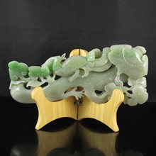 Superb Hand-carved Chinese Natural Hetian Jade Ru Yi Statue w Phoenix