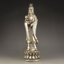 Handmade Chinese White Copper Statue - Kwan-yin & Fortune Kid